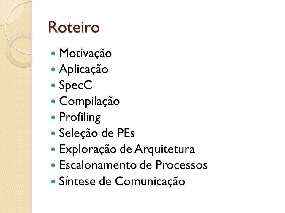 Roteiro Motivação Aplicação SpecC Compilação Profiling Seleção de PEs Exploração de Arquitetura Escalonamento de Processos Síntese de Comunicação
