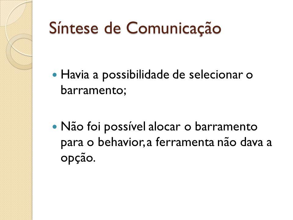 Síntese de Comunicação Havia a possibilidade de selecionar o barramento; Não foi possível alocar o barramento para o behavior, a ferramenta não dava a