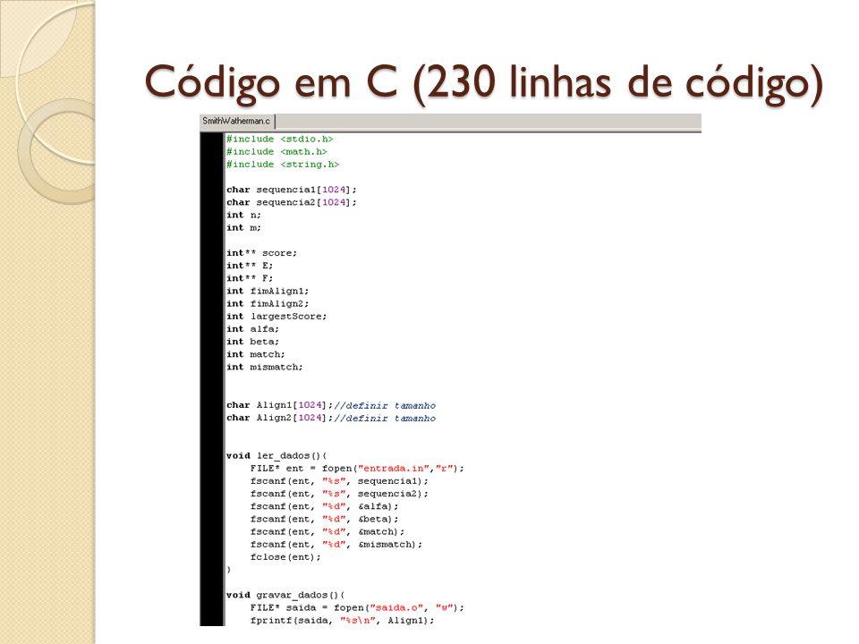 Código em C (230 linhas de código)