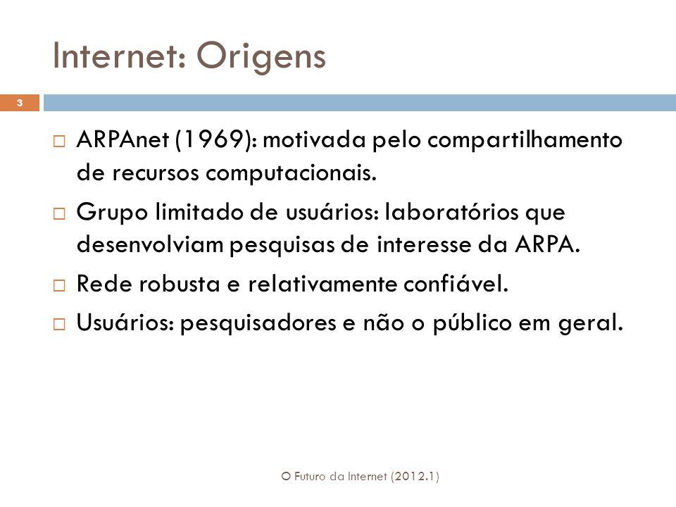 Internet: Origens ARPAnet (1969): motivada pelo compartilhamento de recursos computacionais. Grupo limitado de usuários: laboratórios que desenvolviam