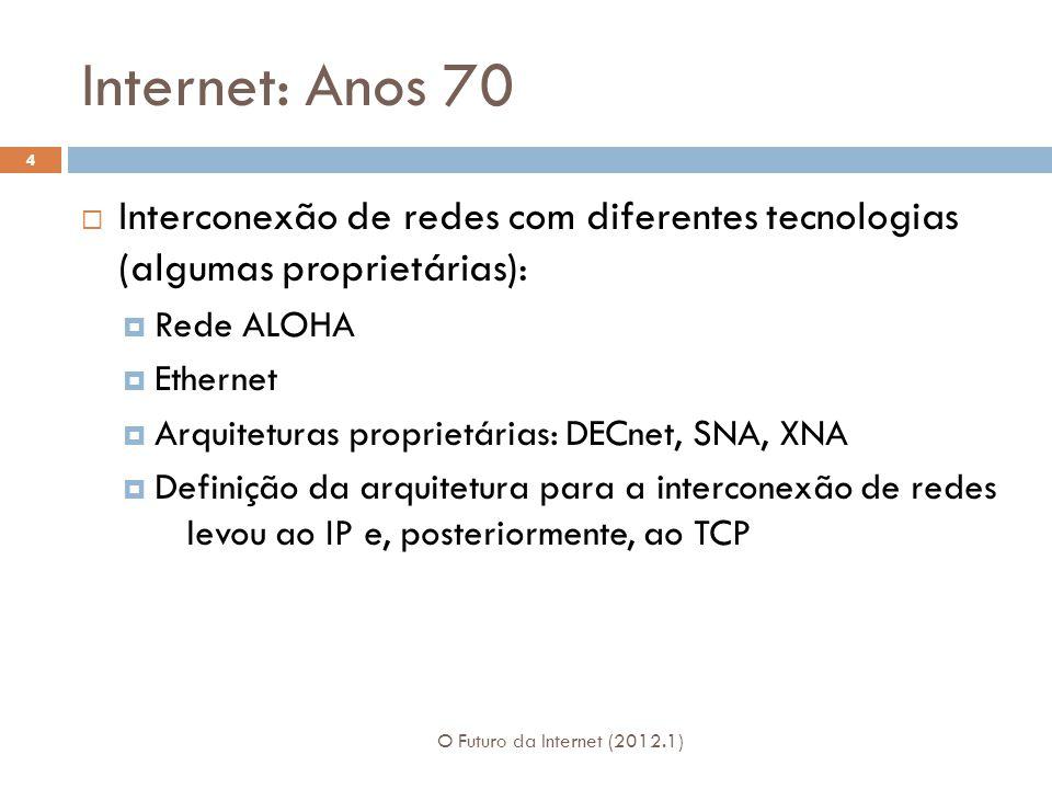 Internet: Anos 70 Interconexão de redes com diferentes tecnologias (algumas proprietárias): Rede ALOHA Ethernet Arquiteturas proprietárias: DECnet, SN
