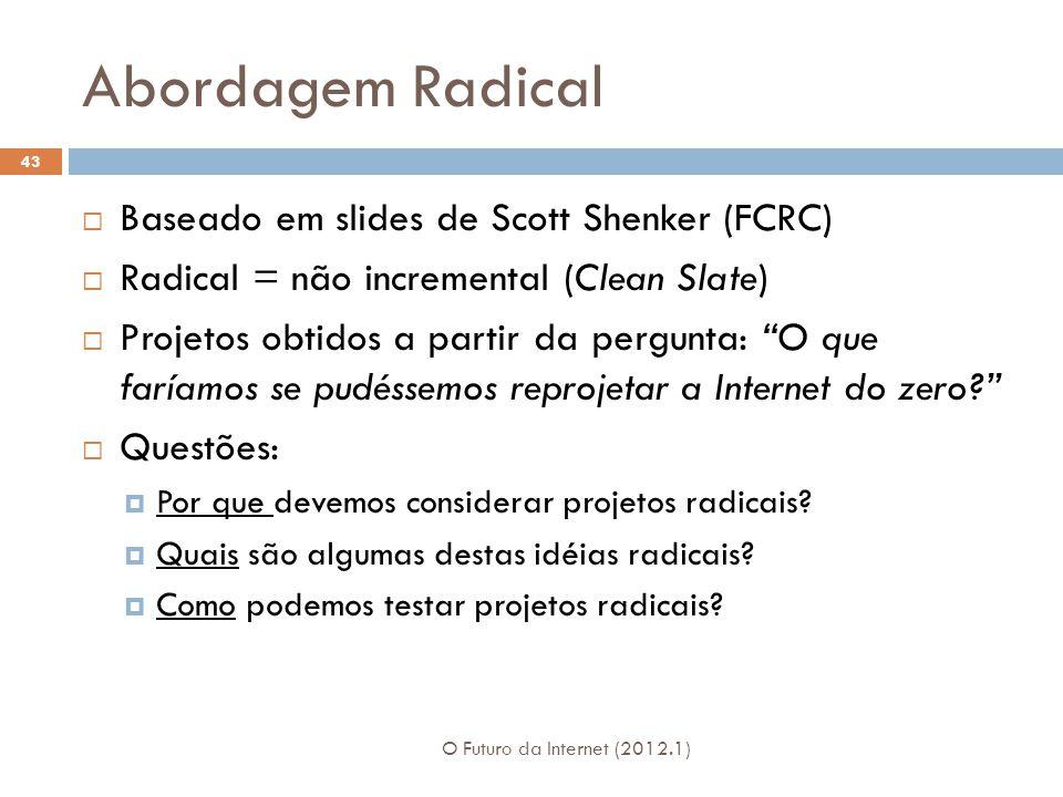 Abordagem Radical Baseado em slides de Scott Shenker (FCRC) Radical = não incremental (Clean Slate) Projetos obtidos a partir da pergunta: O que faría