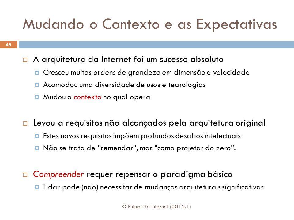 Mudando o Contexto e as Expectativas A arquitetura da Internet foi um sucesso absoluto Cresceu muitas ordens de grandeza em dimensão e velocidade Acom
