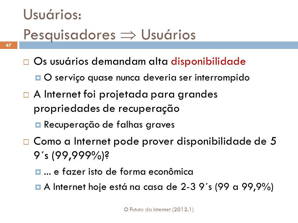 Usuários: Pesquisadores Usuários Os usuários demandam alta disponibilidade O serviço quase nunca deveria ser interrompido A Internet foi projetada par