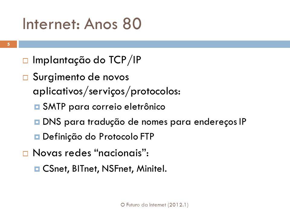 Internet: Anos 80 Implantação do TCP/IP Surgimento de novos aplicativos/serviços/protocolos: SMTP para correio eletrônico DNS para tradução de nomes p