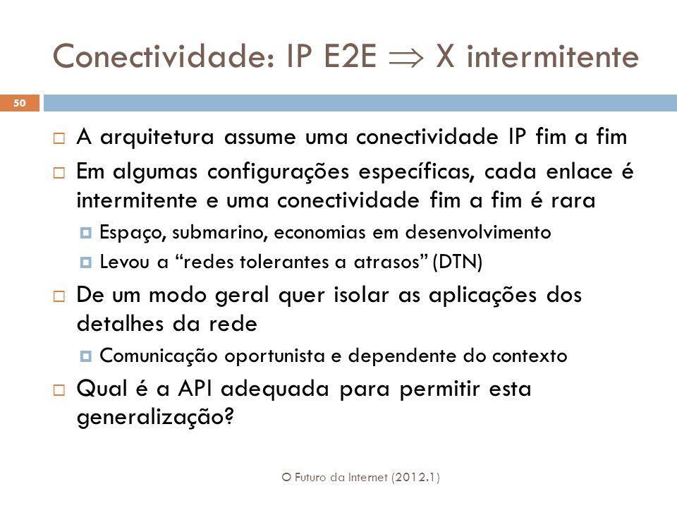 Conectividade: IP E2E X intermitente A arquitetura assume uma conectividade IP fim a fim Em algumas configurações específicas, cada enlace é intermitente e uma conectividade fim a fim é rara Espaço, submarino, economias em desenvolvimento Levou a redes tolerantes a atrasos (DTN) De um modo geral quer isolar as aplicações dos detalhes da rede Comunicação oportunista e dependente do contexto Qual é a API adequada para permitir esta generalização.