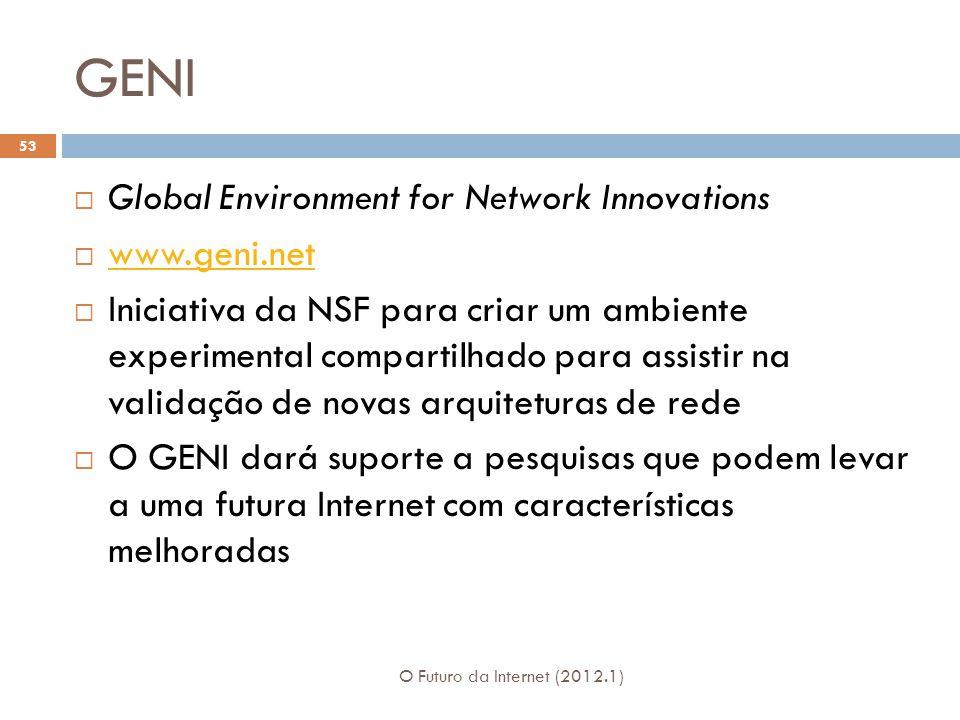 GENI Global Environment for Network Innovations www.geni.net Iniciativa da NSF para criar um ambiente experimental compartilhado para assistir na validação de novas arquiteturas de rede O GENI dará suporte a pesquisas que podem levar a uma futura Internet com características melhoradas 53 O Futuro da Internet (2012.1)