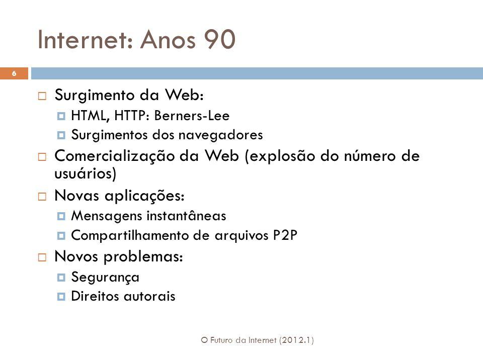 Internet: Anos 90 Surgimento da Web: HTML, HTTP: Berners-Lee Surgimentos dos navegadores Comercialização da Web (explosão do número de usuários) Novas