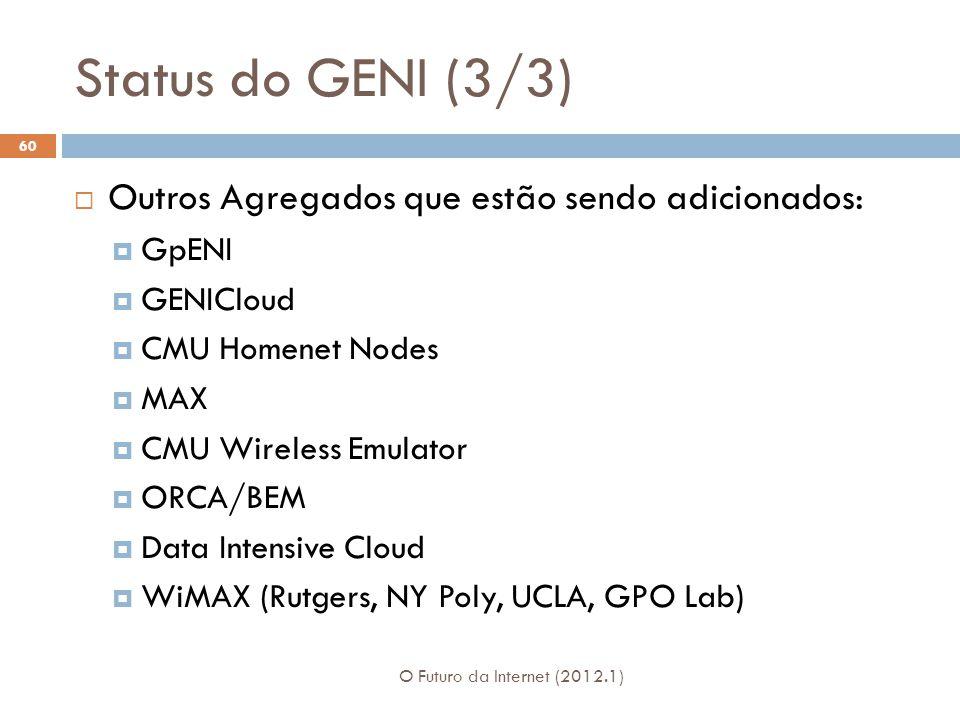 Status do GENI (3/3) O Futuro da Internet (2012.1) 60 Outros Agregados que estão sendo adicionados: GpENI GENICloud CMU Homenet Nodes MAX CMU Wireless Emulator ORCA/BEM Data Intensive Cloud WiMAX (Rutgers, NY Poly, UCLA, GPO Lab)