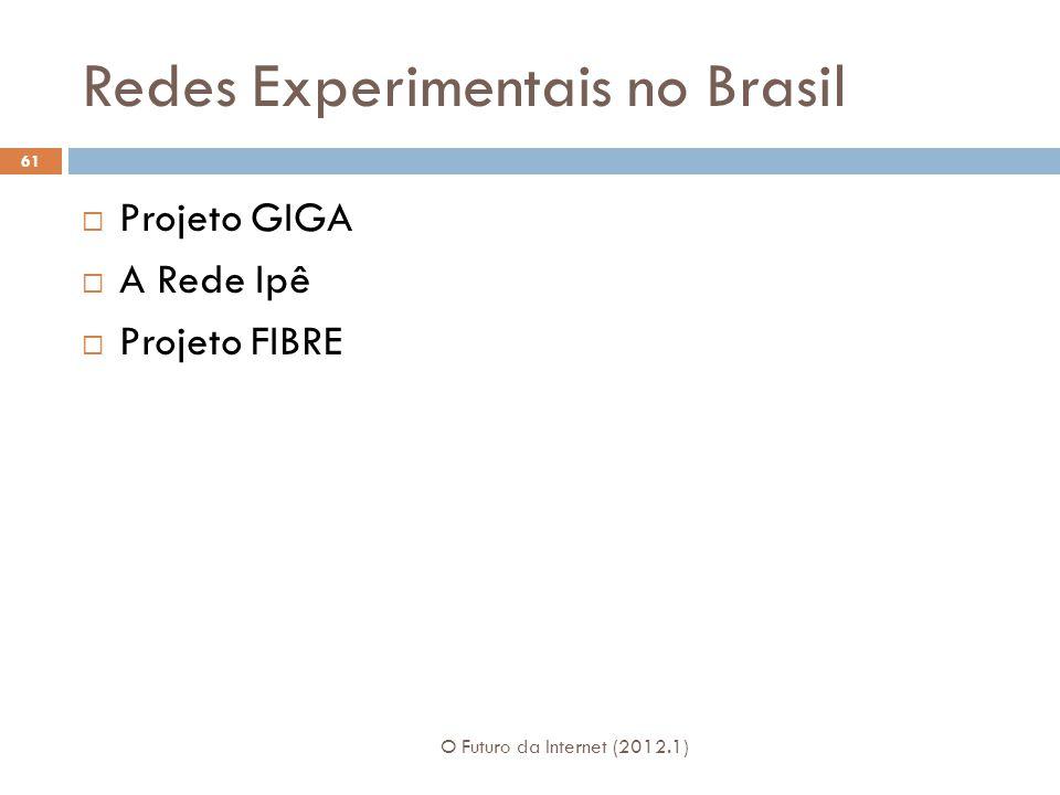 Redes Experimentais no Brasil Projeto GIGA A Rede Ipê Projeto FIBRE 61 O Futuro da Internet (2012.1)
