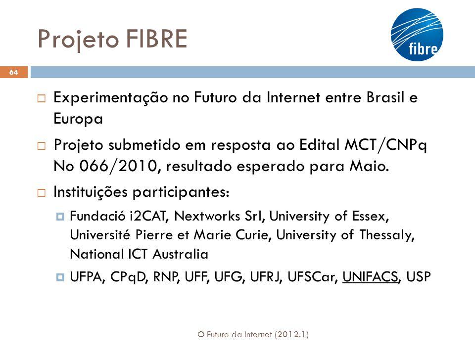 Projeto FIBRE Experimentação no Futuro da Internet entre Brasil e Europa Projeto submetido em resposta ao Edital MCT/CNPq No 066/2010, resultado esperado para Maio.