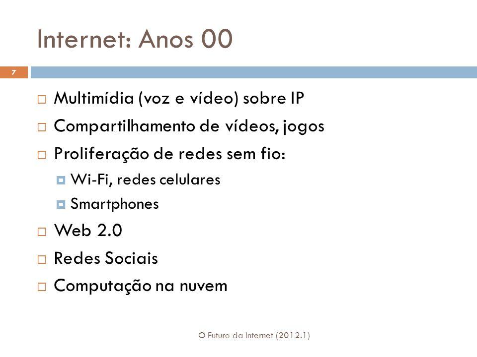 Internet: Anos 00 Multimídia (voz e vídeo) sobre IP Compartilhamento de vídeos, jogos Proliferação de redes sem fio: Wi-Fi, redes celulares Smartphones Web 2.0 Redes Sociais Computação na nuvem 7 O Futuro da Internet (2012.1)