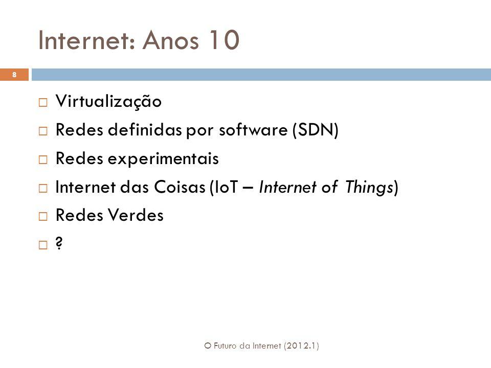 Internet: Anos 10 O Futuro da Internet (2012.1) 8 Virtualização Redes definidas por software (SDN) Redes experimentais Internet das Coisas (IoT – Internet of Things) Redes Verdes ?