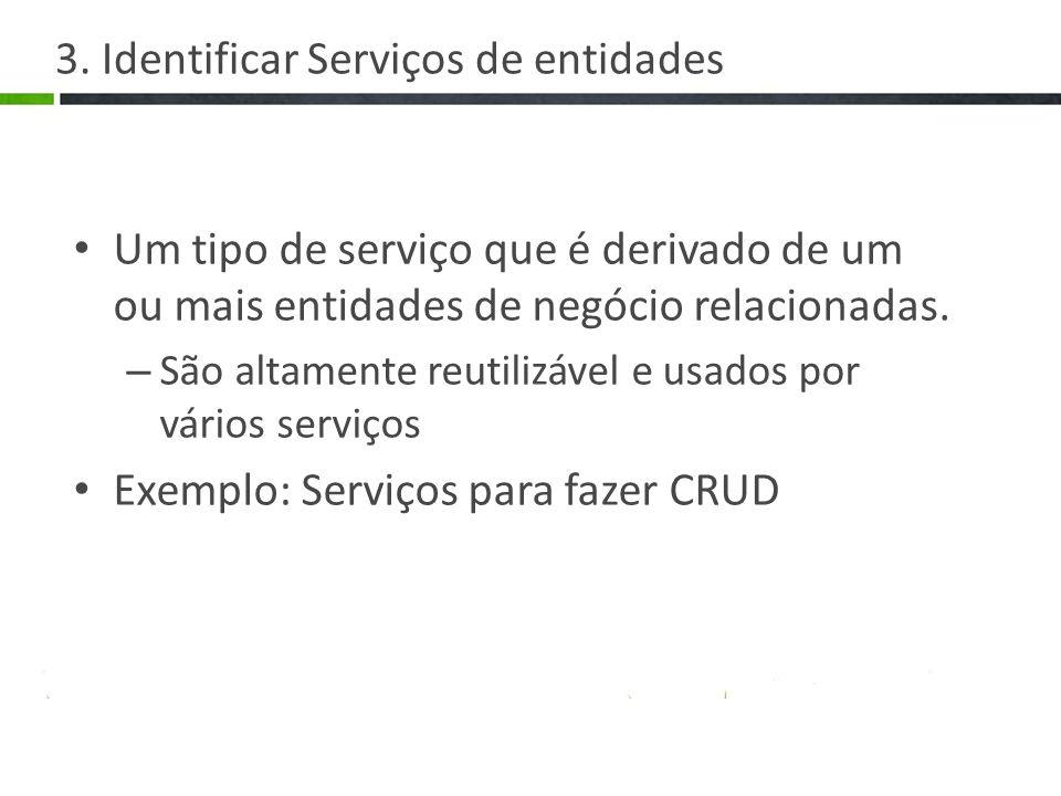 3. Identificar Serviços de entidades Um tipo de serviço que é derivado de um ou mais entidades de negócio relacionadas. – São altamente reutilizável e