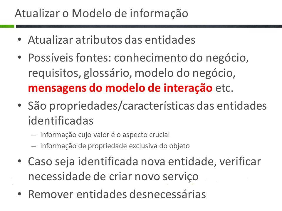 Atualizar o Modelo de informação Atualizar atributos das entidades Possíveis fontes: conhecimento do negócio, requisitos, glossário, modelo do negócio