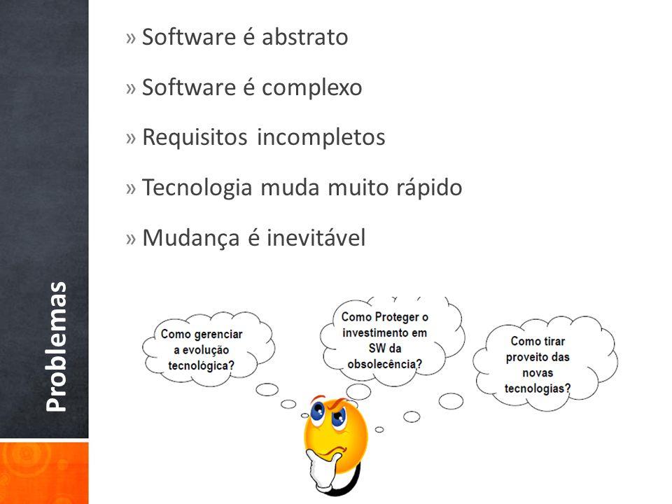Problemas » Software é abstrato » Software é complexo » Requisitos incompletos » Tecnologia muda muito rápido » Mudança é inevitável