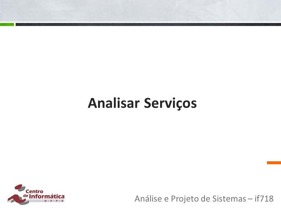 Analisar Serviços Análise e Projeto de Sistemas – if718