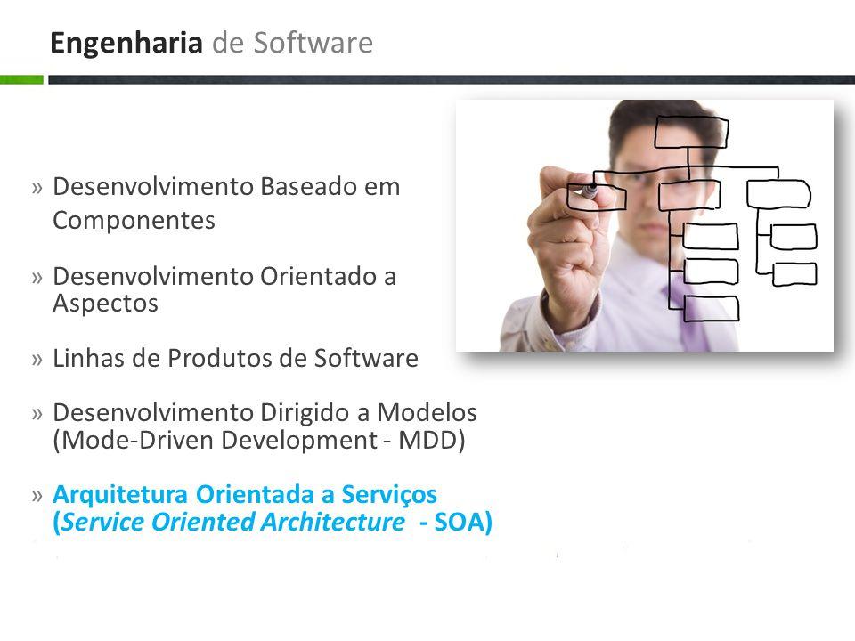» Desenvolvimento Baseado em Componentes » Desenvolvimento Orientado a Aspectos » Linhas de Produtos de Software » Desenvolvimento Dirigido a Modelos (Mode-Driven Development - MDD) » Arquitetura Orientada a Serviços (Service Oriented Architecture - SOA) Engenharia de Software