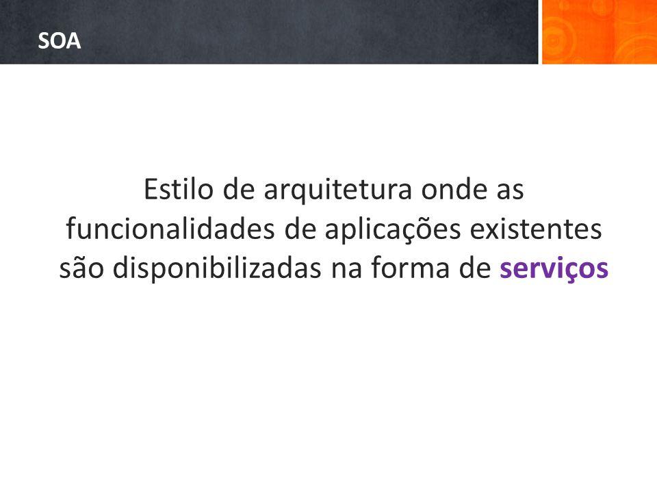 Estilo de arquitetura onde as funcionalidades de aplicações existentes são disponibilizadas na forma de serviços SOA