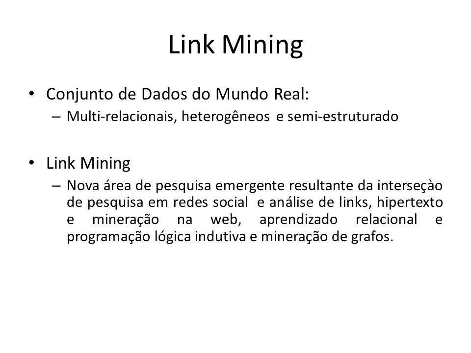 Link Mining Conjunto de Dados do Mundo Real: – Multi-relacionais, heterogêneos e semi-estruturado Link Mining – Nova área de pesquisa emergente result