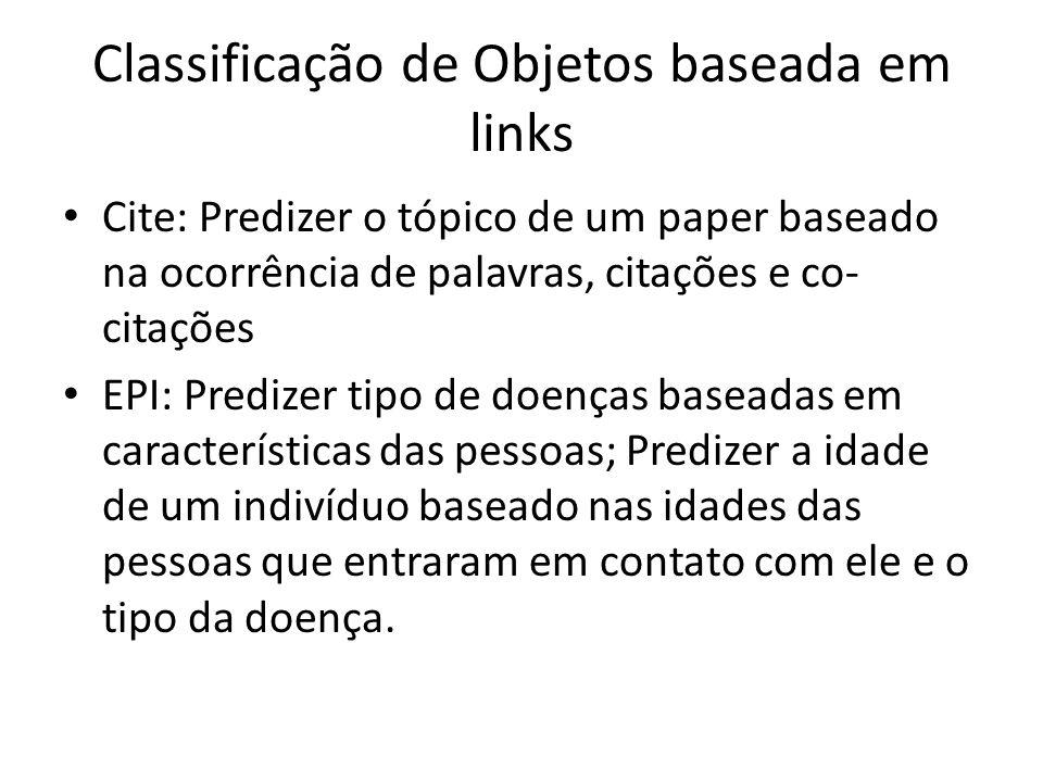 Classificação de Objetos baseada em links Cite: Predizer o tópico de um paper baseado na ocorrência de palavras, citações e co- citações EPI: Predizer