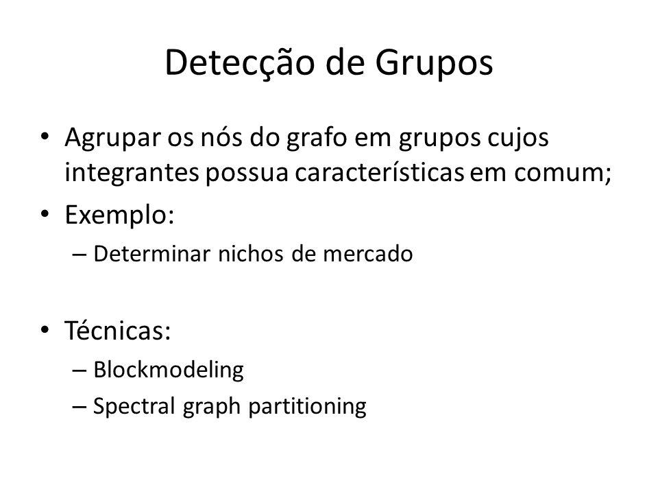 Detecção de Grupos Agrupar os nós do grafo em grupos cujos integrantes possua características em comum; Exemplo: – Determinar nichos de mercado Técnic
