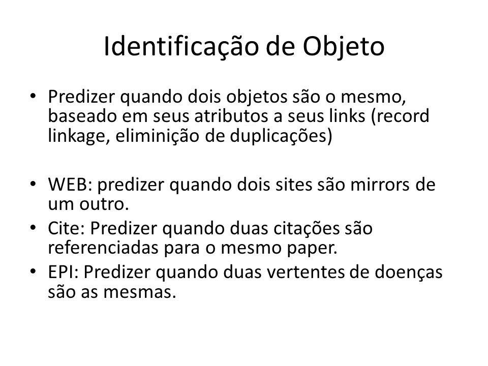 Identificação de Objeto Predizer quando dois objetos são o mesmo, baseado em seus atributos a seus links (record linkage, eliminição de duplicações) W