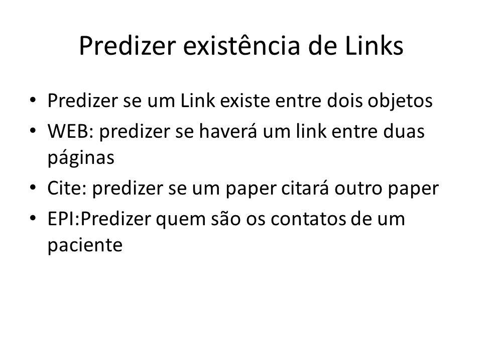 Predizer existência de Links Predizer se um Link existe entre dois objetos WEB: predizer se haverá um link entre duas páginas Cite: predizer se um pap