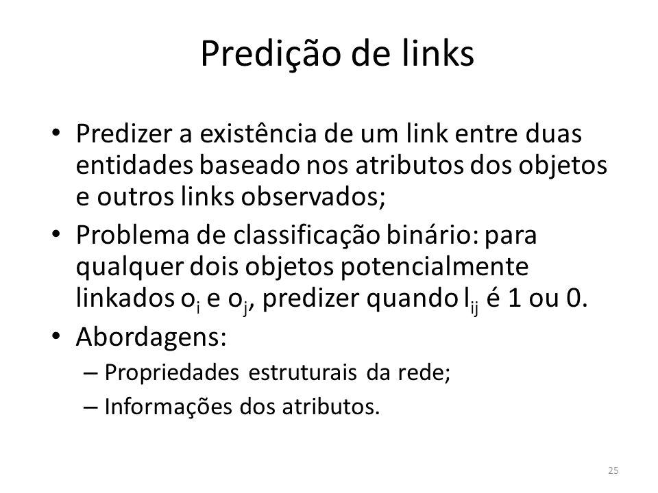 Predição de links Predizer a existência de um link entre duas entidades baseado nos atributos dos objetos e outros links observados; Problema de class