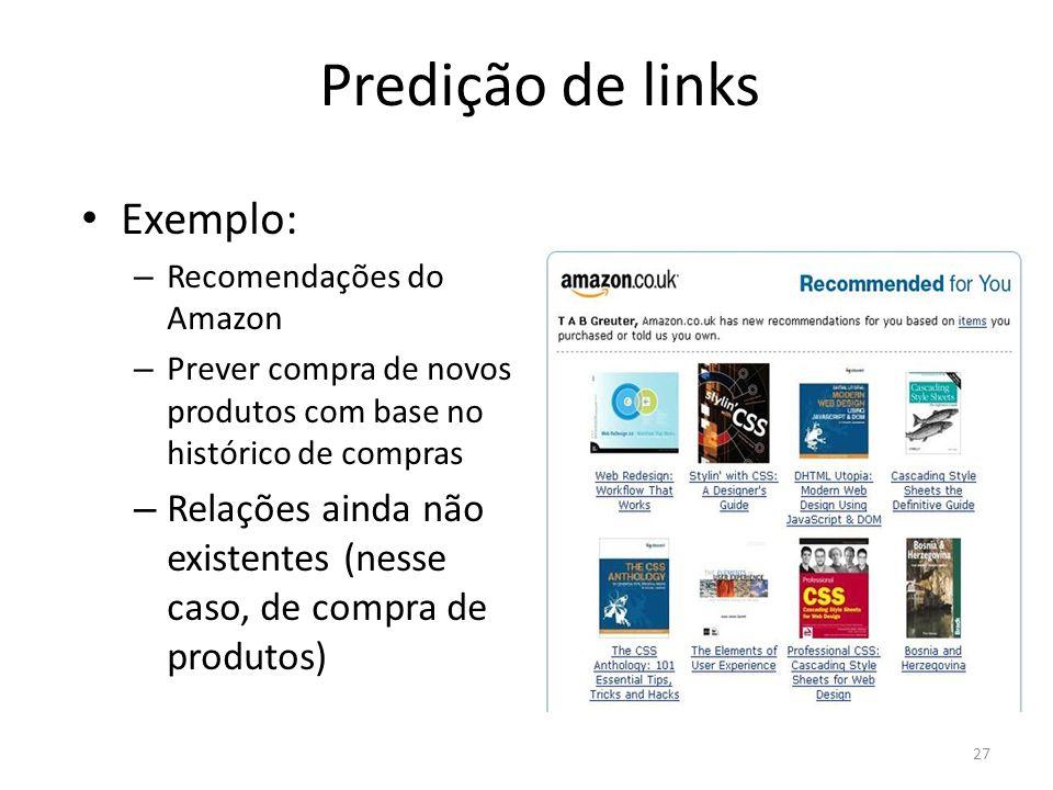 Predição de links Exemplo: – Recomendações do Amazon – Prever compra de novos produtos com base no histórico de compras – Relações ainda não existente