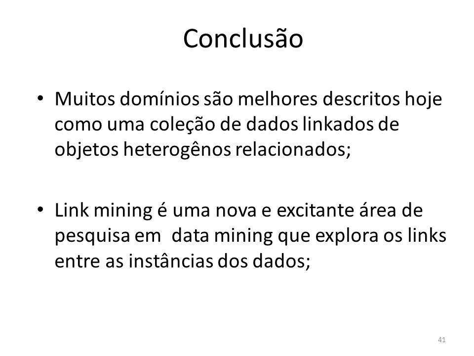 Conclusão Muitos domínios são melhores descritos hoje como uma coleção de dados linkados de objetos heterogênos relacionados; Link mining é uma nova e