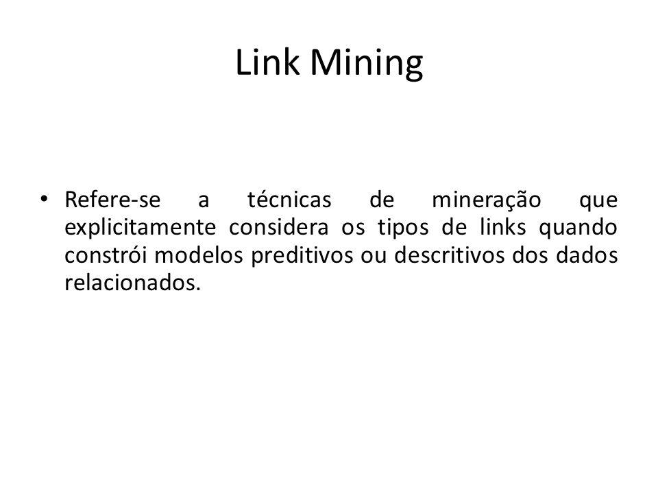 Link Mining Refere-se a técnicas de mineração que explicitamente considera os tipos de links quando constrói modelos preditivos ou descritivos dos dad