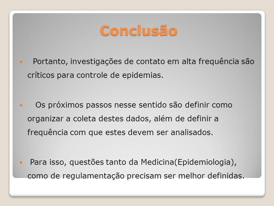 Conclusão Portanto, investigações de contato em alta frequência são críticos para controle de epidemias. Os próximos passos nesse sentido são definir