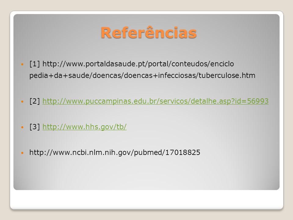 Referências [1] http://www.portaldasaude.pt/portal/conteudos/enciclo pedia+da+saude/doencas/doencas+infecciosas/tuberculose.htm [2] http://www.puccamp