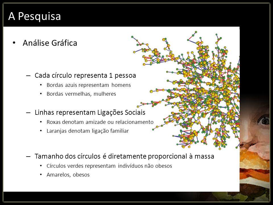 A Pesquisa Análise Gráfica – Cada círculo representa 1 pessoa Bordas azuis representam homens Bordas vermelhas, mulheres – Linhas representam Ligações