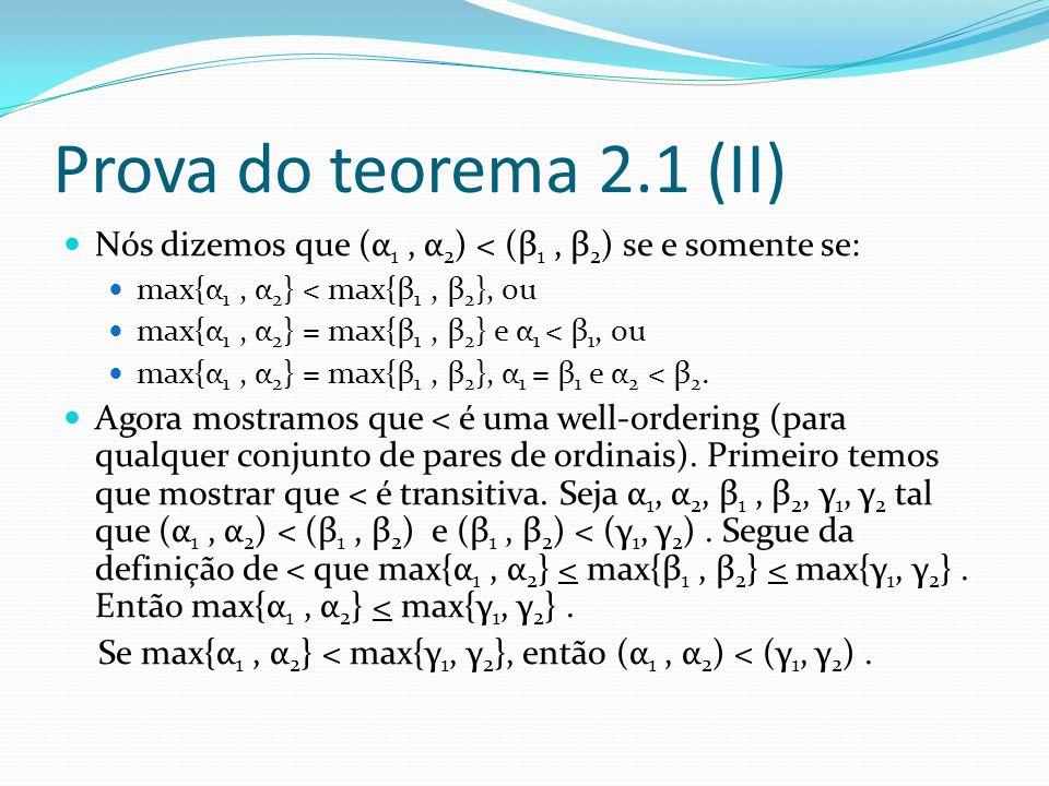 Prova do teorema 2.1 (II) Nós dizemos que (α 1, α 2 ) < (β 1, β 2 ) se e somente se: max{α 1, α 2 } < max{β 1, β 2 }, ou max{α 1, α 2 } = max{β 1, β 2 } e α 1 < β 1, ou max{α 1, α 2 } = max{β 1, β 2 }, α 1 = β 1 e α 2 < β 2.