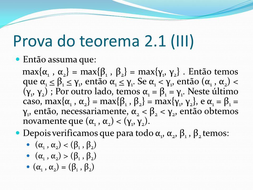 Prova do teorema 2.1 (III) Então assuma que: max{α 1, α 2 } = max{β 1, β 2 } = max{γ 1, γ 2 }.