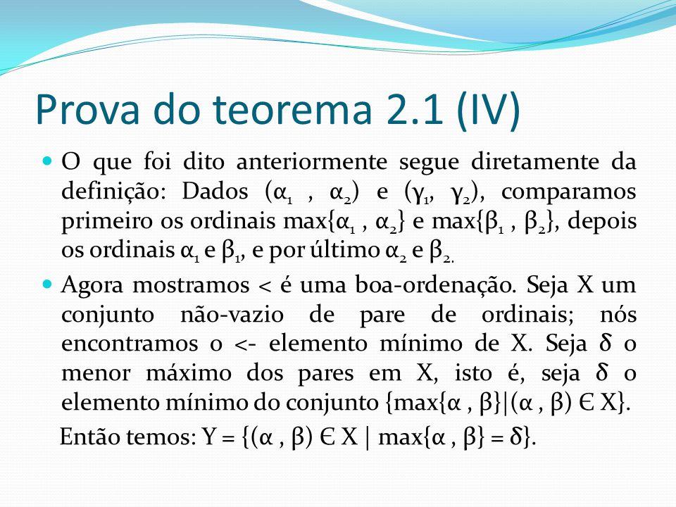 Prova do teorema 2.1 (IV) O que foi dito anteriormente segue diretamente da definição: Dados (α 1, α 2 ) e (γ 1, γ 2 ), comparamos primeiro os ordinais max{α 1, α 2 } e max{β 1, β 2 }, depois os ordinais α 1 e β 1, e por último α 2 e β 2.