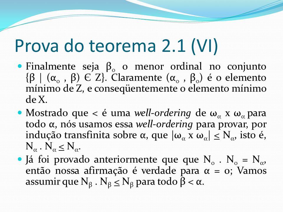 Prova do teorema 2.1 (VI) Finalmente seja β 0 o menor ordinal no conjunto {β | (α 0, β) Є Z}.