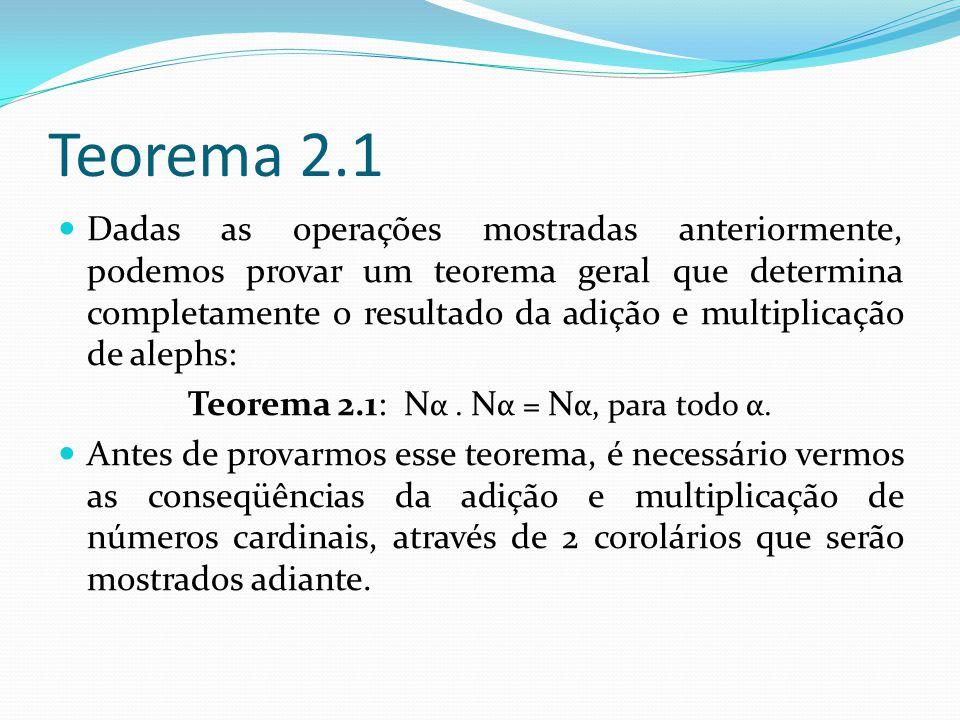 Teorema 2.1 Dadas as operações mostradas anteriormente, podemos provar um teorema geral que determina completamente o resultado da adição e multiplicação de alephs: Teorema 2.1: N α.