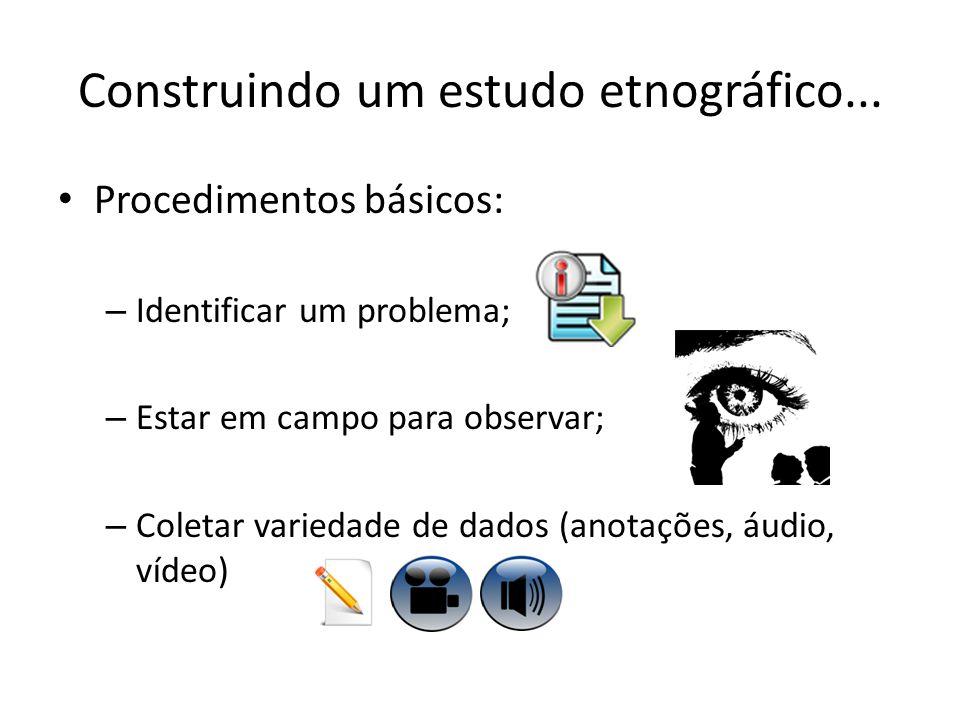 Construindo um estudo etnográfico... Procedimentos básicos: – Identificar um problema; – Estar em campo para observar; – Coletar variedade de dados (a