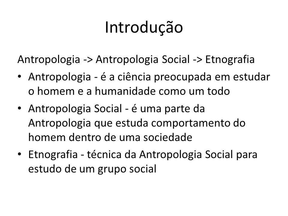 Introdução Antropologia -> Antropologia Social -> Etnografia Antropologia - é a ciência preocupada em estudar o homem e a humanidade como um todo Antr