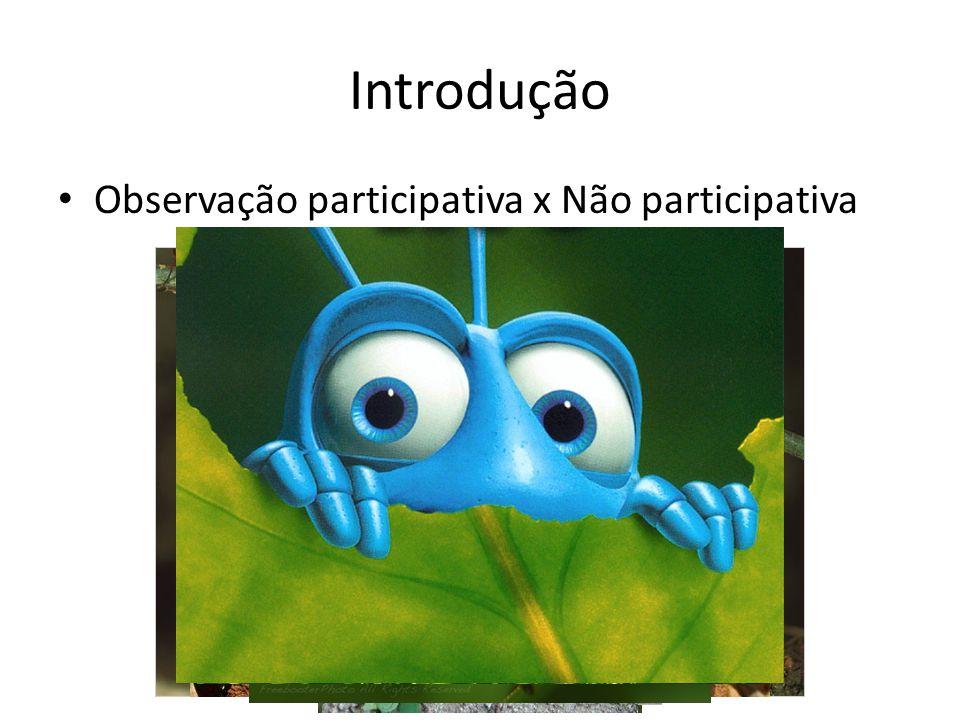 Introdução Observação participativa x Não participativa