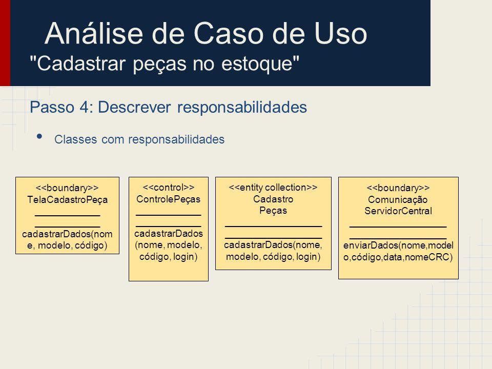 Análise de Caso de Uso Cadastrar peças no estoque Passo 5: Descrever atributos e associações