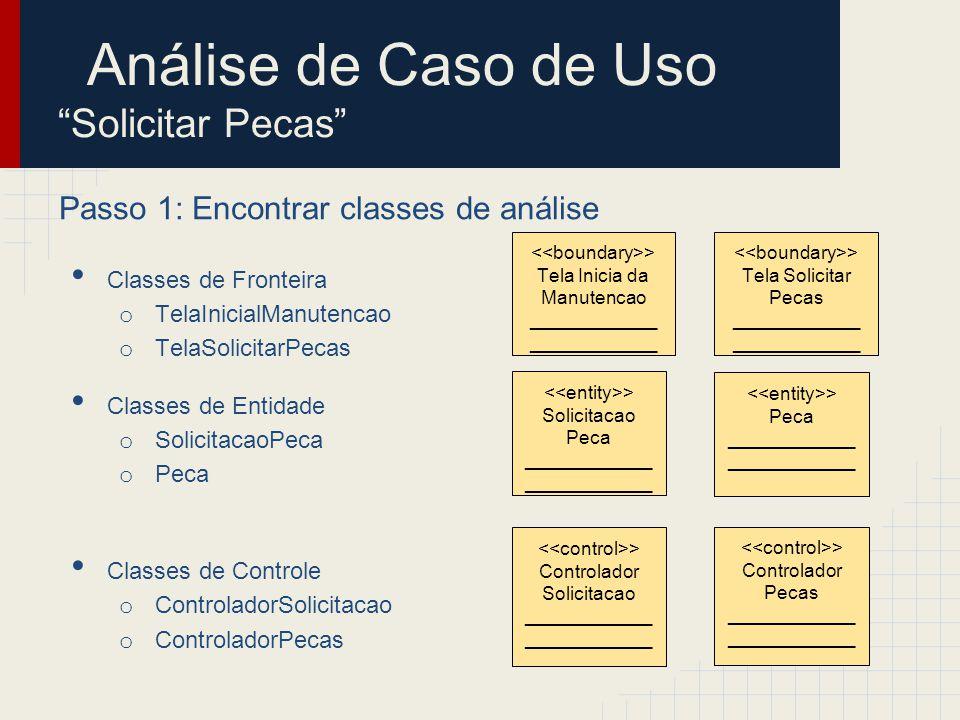 Passo 2: Identificar persistência Classes de Fronteira o TelaInicialManutencao o TelaSolicitarPecas Classes de Entidade o Solicitacao o Peca Classes de Controle o Controlador Solicitacao o ControladorPecas > Solicitacao ____________ > Peca ____________ Análise de Caso de Uso Solicitar Pecas