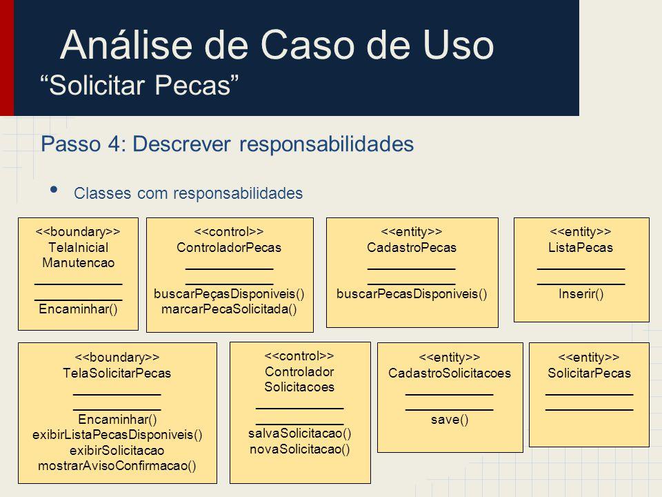 Passo 4: Descrever responsabilidades Classes com responsabilidades Análise de Caso de Uso Solicitar Pecas > CadastroPecas ____________ buscarPecasDisp