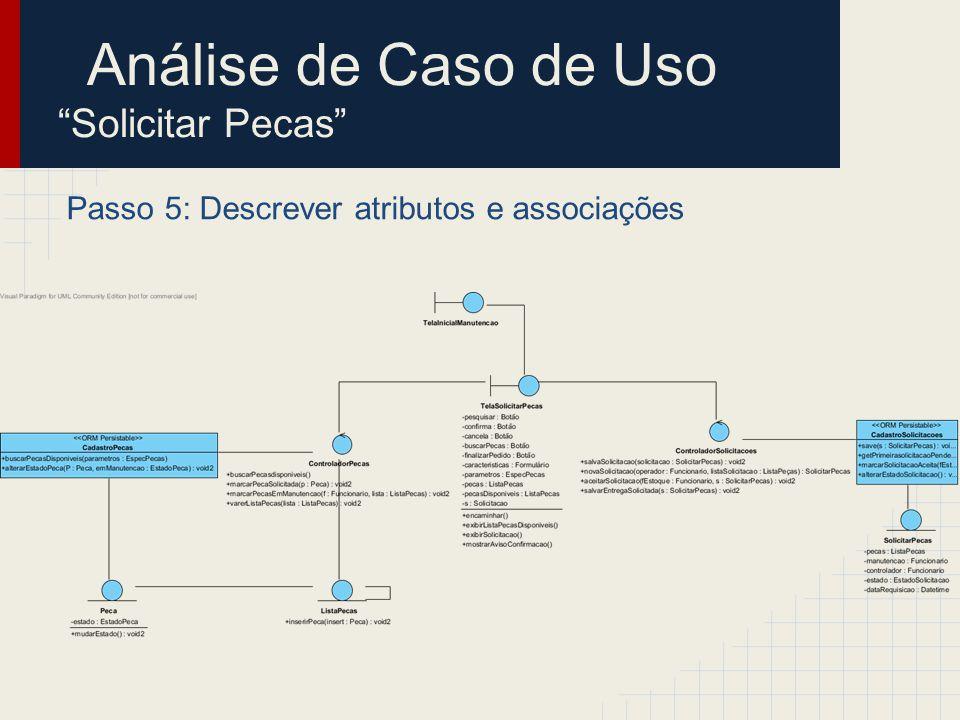 Passo 5: Descrever atributos e associações Análise de Caso de Uso Solicitar Pecas