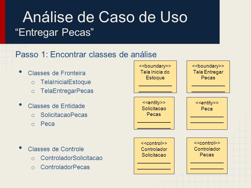 Passo 2: Identificar persistência Classes de Fronteira o TelaInicialManutencao o TelaSolicitarPecas Classes de Entidade o Solicitacao o Peca Classes de Controle o Controlador Solicitacao o ControladorPecas > Solicitacao ____________ > Peca ____________ Análise de Caso de Uso Entregar Pecas