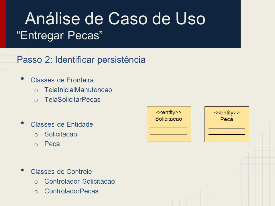 Passo 2: Identificar persistência Classes de Fronteira o TelaInicialManutencao o TelaSolicitarPecas Classes de Entidade o SolicitacaoPecas o Peca Classes de Controle o Controlador Solicitacao o ControladorPecas > Solicitacao Pecas ____________ > Peca ____________ > CadastroSolicitacoes ________________ > CadastroPecas ________________ Análise de Caso de Uso Entregar Pecas