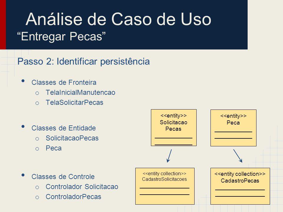 Passo 3: Distribuir comportamento entre as classes Diagrama de sequência Análise de Caso de Uso Entregar Pecas